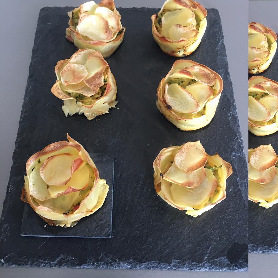 Cupcakes pomme de terre, courgettes et bacon