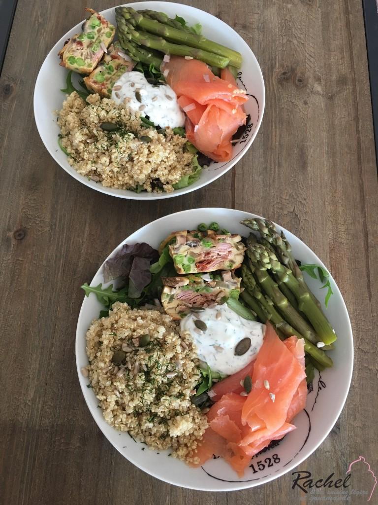 Assiette complète : Quinoa, saumon fumé, asperge et petit flan de légumes