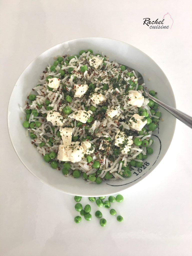 Salade riz, quinoa, petits pois et fêta