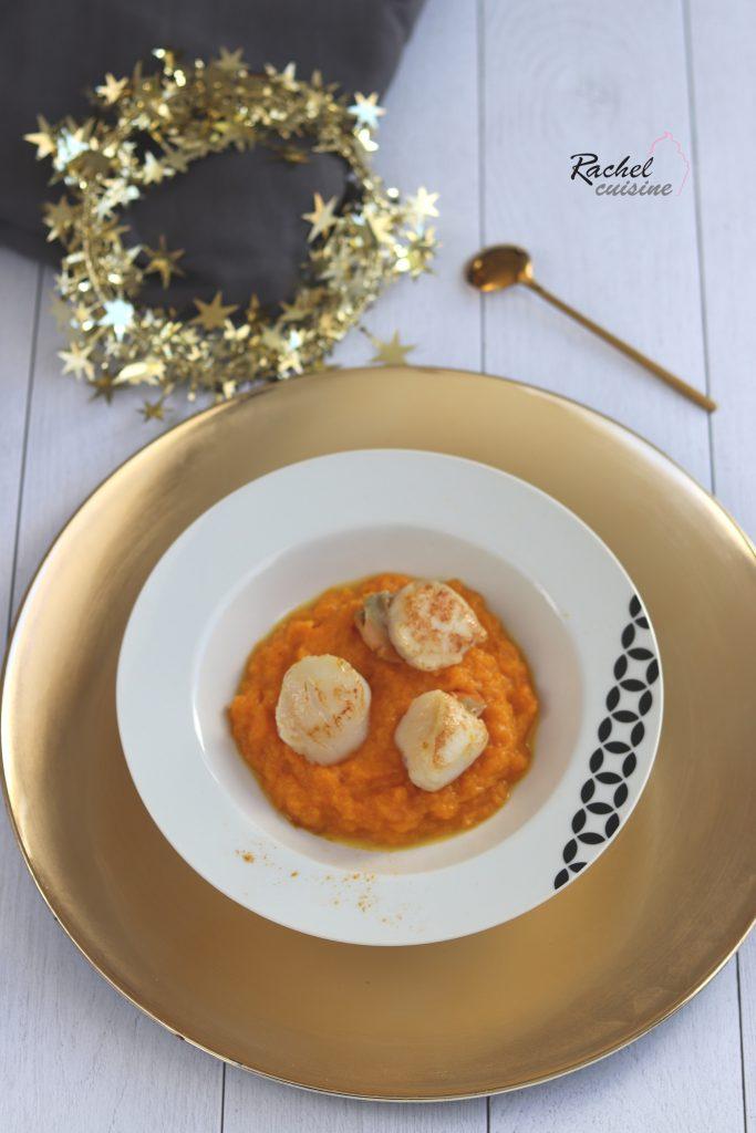 Saint Jacques, purée de butternut coco, curry