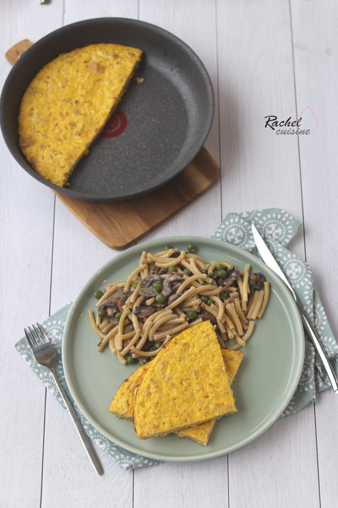 Frittata légère thon, et oignons, pâtes champignons, petits pois