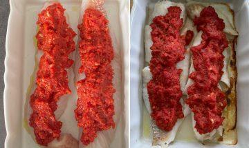 Cabillaud à la sauce tomate cuit au four