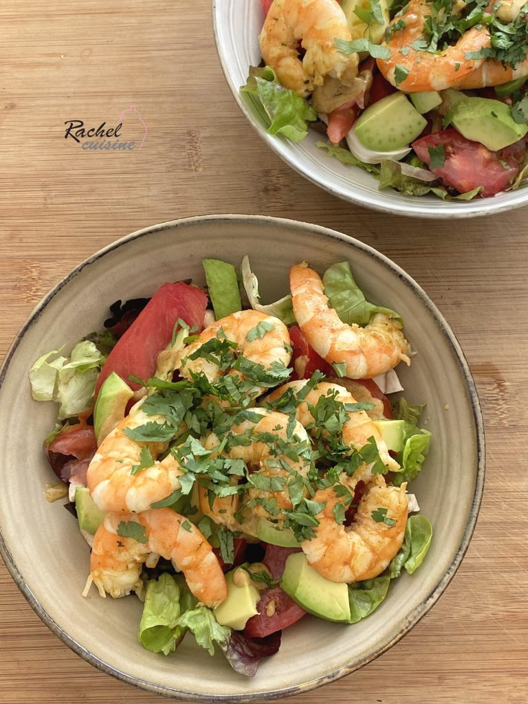 Salade crevettes marinées, avocat